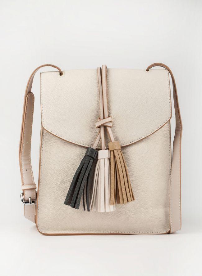 Τσάντα χιαστί με κρόσσια - Μπεζ