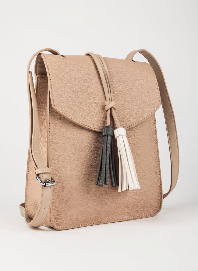 Τσάντα χιαστί με κρόσσια - Πούρο