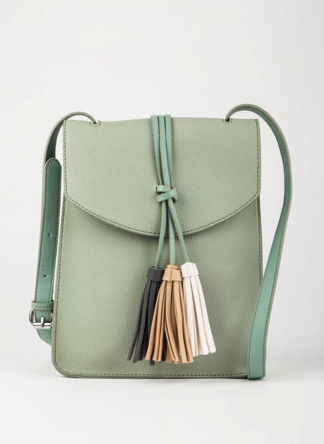 Τσάντα χιαστί με κρόσσια - Πράσινο