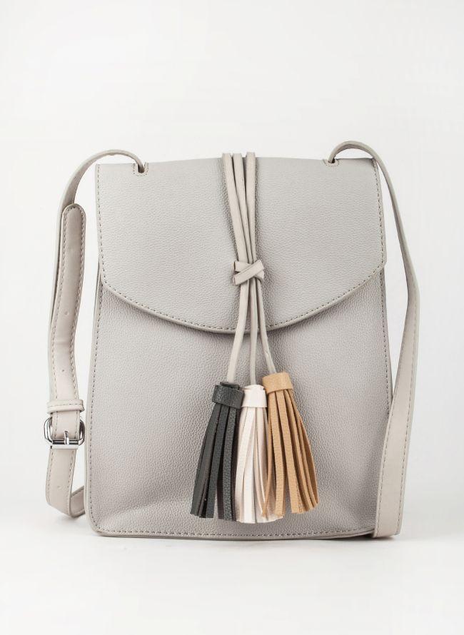 Τσάντα χιαστί με κρόσσια - Γκρι