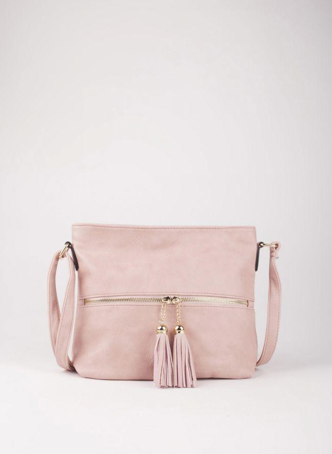 Τσάντα χιαστί με κρόσσια - Ροζ