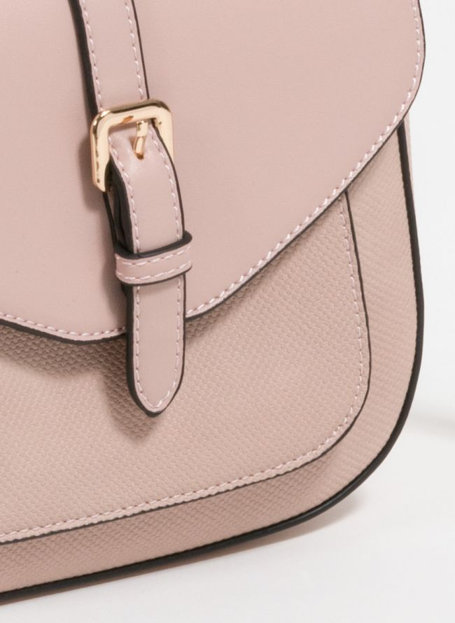 Τσαντάκι χιαστί που συνδυάζει ματ και patterned τεχνόδερμα - Ροζ