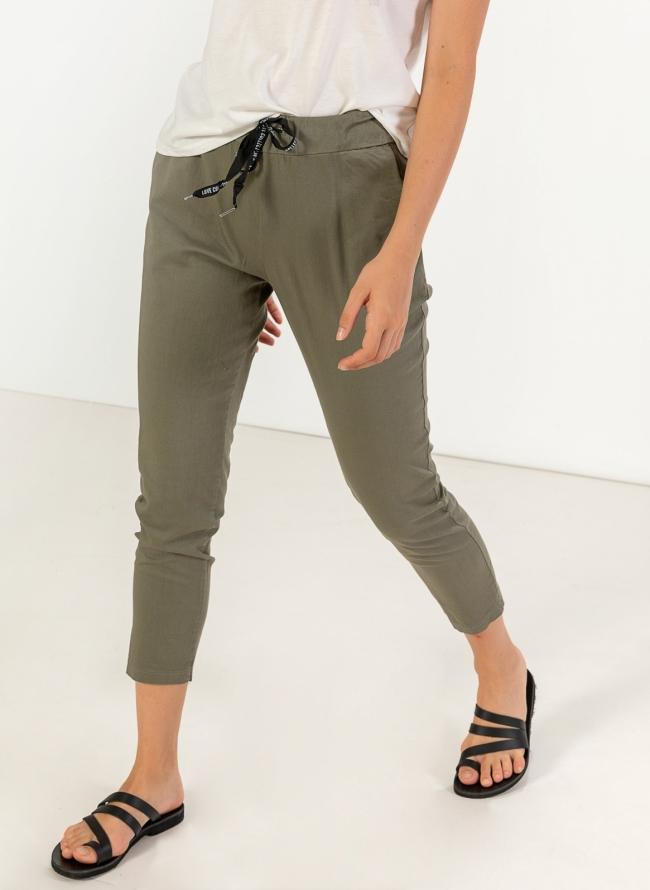 21b00d65bee Υφασμάτινο basic παντελόνι με κάθετες τσέπες - Χακί