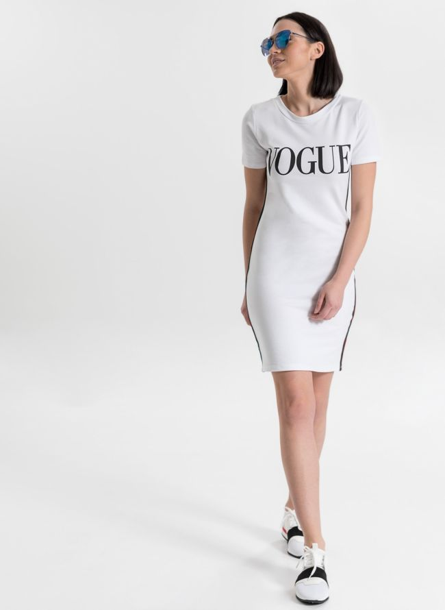 VOGUE μακό midi φόρεμα - Λευκό