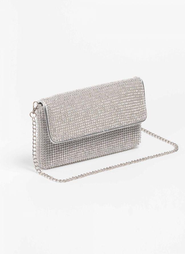 Βραδινή τσάντα με strass - Ασημί - TheFashionProject 8d7d8a540b2