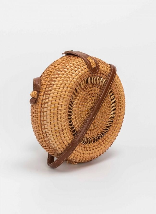 797204d57d Χειροποιήτη στρογγυλή bamboo τσάντα - Φυσικό
