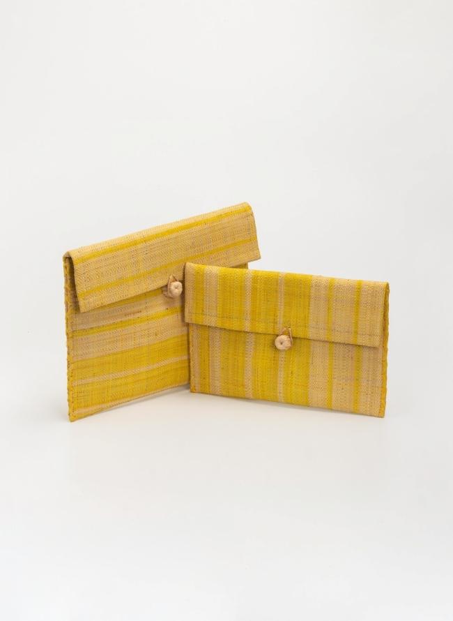 eb8351bd104 Χειροποίητο ψάθινο clutches σετ με διχρωμία - Κίτρινο