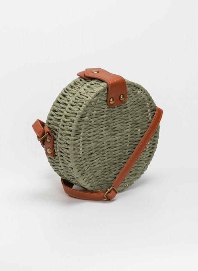 25a2adcc81 Χιαστί στρογγυλή χειροποίητη πλεκτή τσάντα - Λαδί