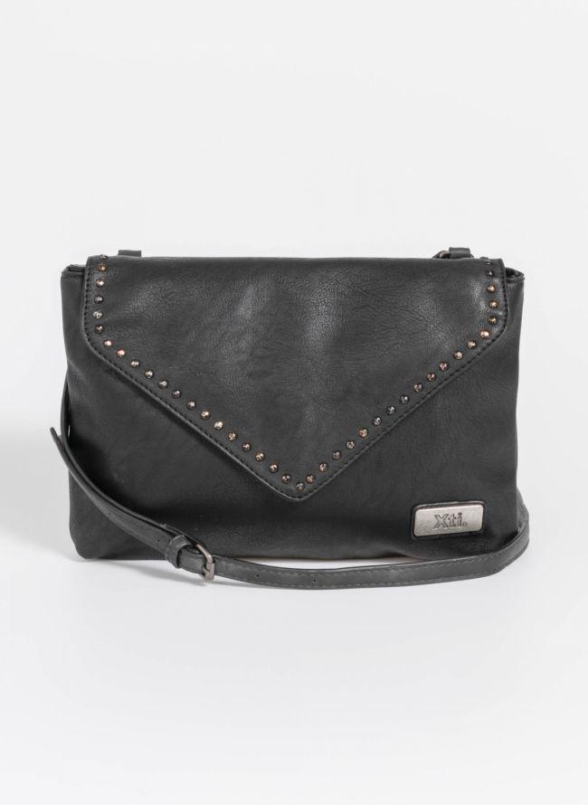 Χιαστί τσάντα με διακριτικά τρουκς - Μαύρο