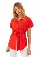 98ef1e255789 Ασύμμετρη πουκάμισα με ζωνάκι - Κόκκινο - TheFashionProject