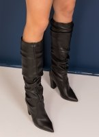 f7ccc782716 Block heel μυτερές μπότες με σούρες - Μαύρο