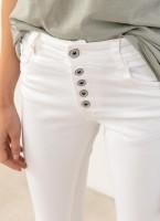 d4945e019551 Denim παντελόνι με εξωτερικά κουμπιά - Λευκό - TheFashionProject
