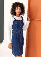 Φόρεμα jean με κουμπιά - Μπλε jean - TheFashionProject cac49bfdd1d