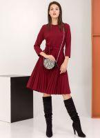 Φόρεμα πλισέ με κουμπιά στον ώμο - Μπορντό - TheFashionProject 0975e4b842e