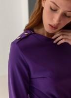Φόρεμα πλισέ με κουμπιά στον ώμο - Μωβ - TheFashionProject 571a692912d