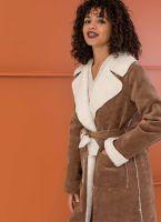 Κοτλέ παλτό με οικολογικό sheepskin - Καφέ - TheFashionProject 69002ca1b7a