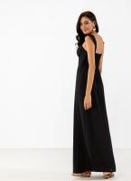 186fc0709cf Λινό maxi φόρεμα με λεπτό βολάν στους ώμους - Μαύρο
