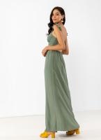 8da2b97b4c0 Λινό maxi φόρεμα με λεπτό βολάν στους ώμους - Χακί