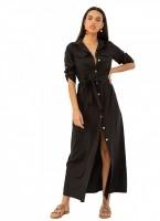 ae3d47677c82 Maxi φόρεμα πουκάμισο με χρυσά κουμπιά - Μαύρο - TheFashionProject