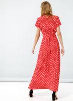6617dbf445d1 Maxi πουά κρουαζέ φόρεμα - Κόκκινο - TheFashionProject
