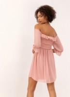 da419959f45b Mini φόρεμα με πουά διαφάνεια στα μανίκια - Ροζ - TheFashionProject