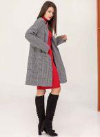 Oversize καρώ παλτό με εξωτερικές τσέπες - Λευκό Μαύρο ... 027fa76690a