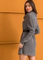 d517553ad6b7 Πλεκτό φόρεμα με μεγάλο ζιβάγκο - Γκρι - TheFashionProject