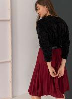 Πλισέ midi φούστα με λάστιχο στη μέση - Μπορντό - TheFashionProject de1f45309a9