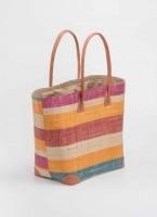a937dad540 Πολύχρωμη ψάθινη τσάντα με λεπτομέρειες δερματίνη B-8147 - Multi ...