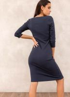 68850644c71c Ριπ midi φόρεμα - Μπλε σκούρο - TheFashionProject