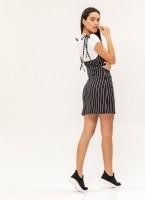 e6837e88e9e8 Two pieces mini φόρεμα με ρίγες - Λευκό Μαύρο - TheFashionProject