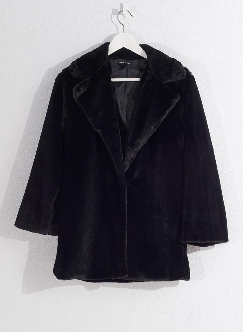 Γούνινο παλτό - Μαύρο - TheFashionProject 6c246cef9ee