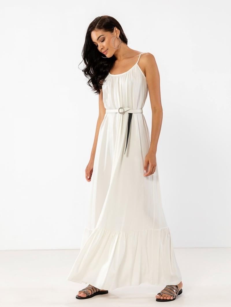 1bdc925bc62 Αέρινο maxi φόρεμα με δετούς ώμους - Λευκό