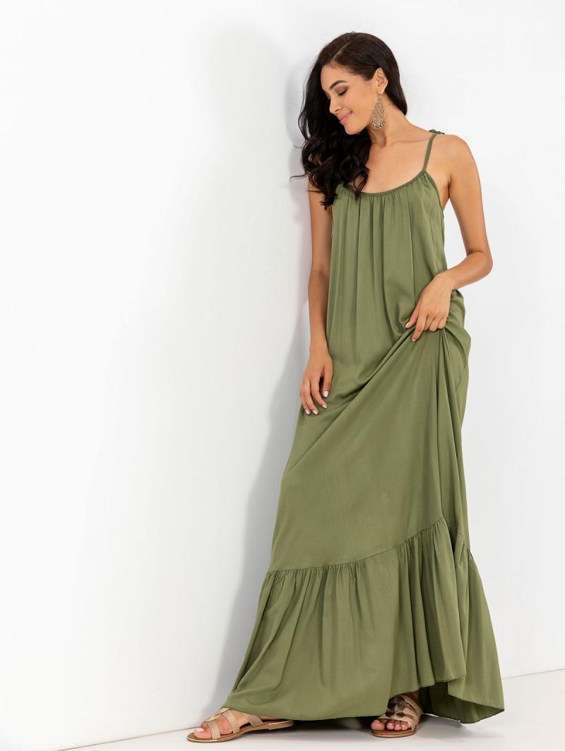 7af3735ddb3 Αέρινο maxi φόρεμα με δετούς ώμους - Χακί