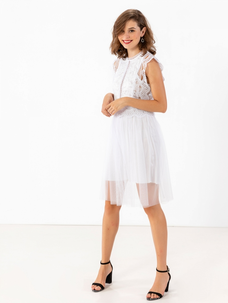 1c1f02b5166 Αμάνικο φόρεμα με δαντέλα και τούλι - Λευκό