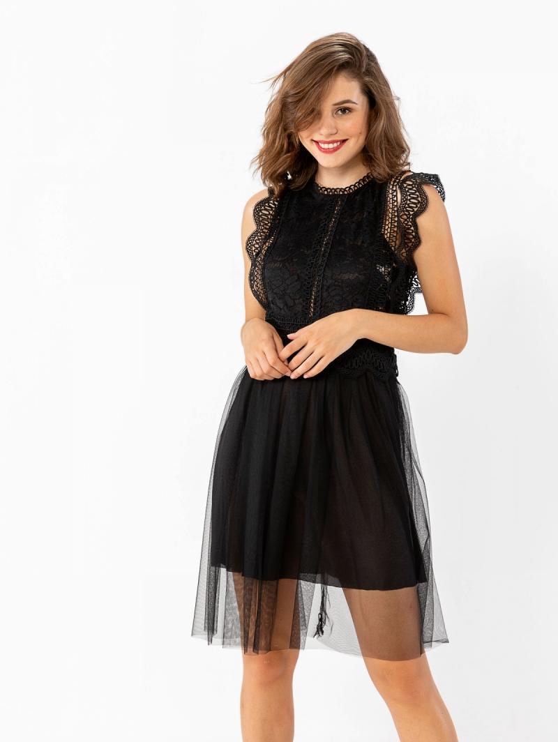 ad433d1cf36 Αμάνικο φόρεμα με δαντέλα και τούλι - Μαύρο