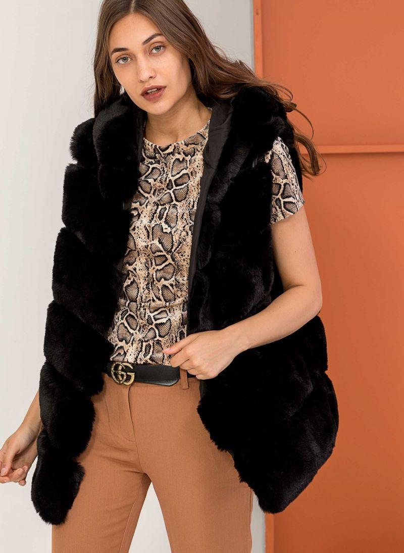 Αμάνικο jacket από οικολογική γούνα - Μαύρο - TheFashionProject b67451546c8