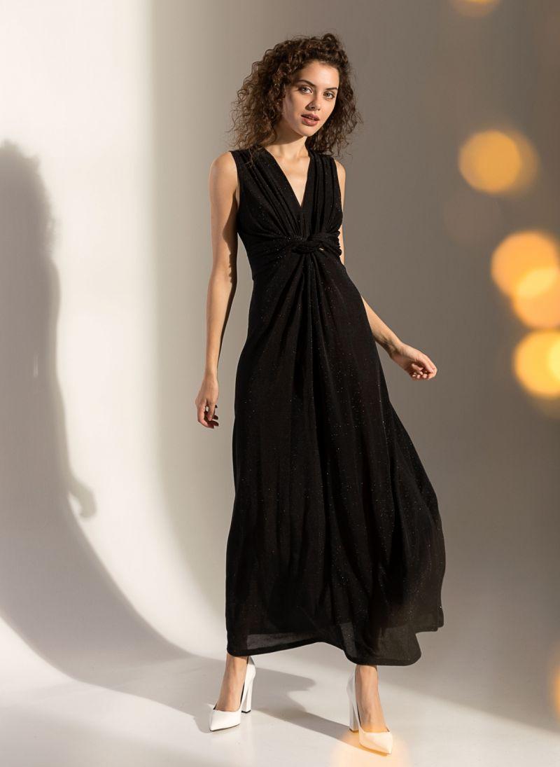 0032e83870f Αμάνικο maxi γυαλιστερό φόρεμα - Μαύρο - TheFashionProject