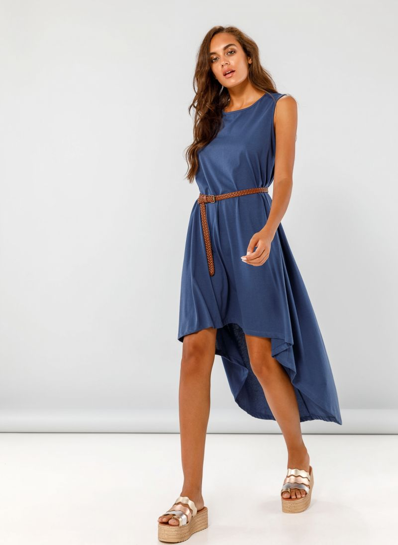 c26a46396bff Αμάνικο midi ασύμμετρο φόρεμα - Μπλε - TheFashionProject