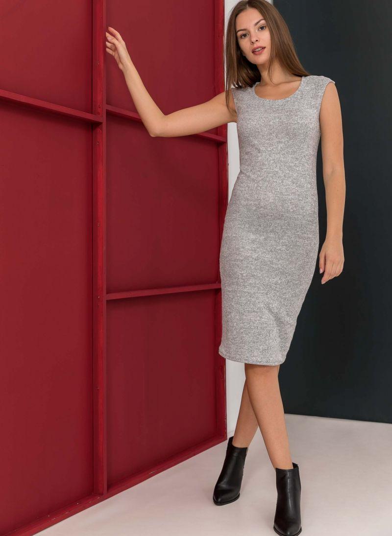 902b007451a1 Αμάνικο midi φόρεμα σε εφαρμοστή γραμμή - Γκρι - TheFashionProject