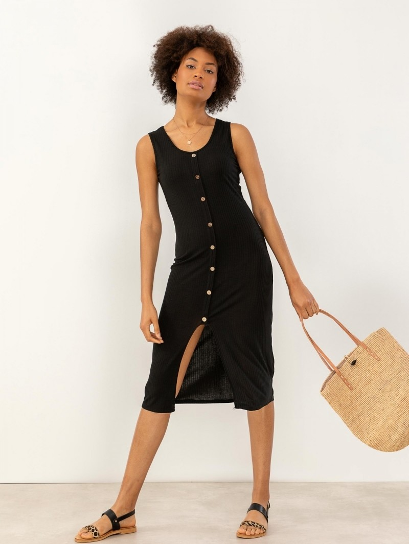 ec56ed259a4b Αμάνικο ριπ φόρεμα με άνοιγμα μπροστά - Μαύρο - TheFashionProject