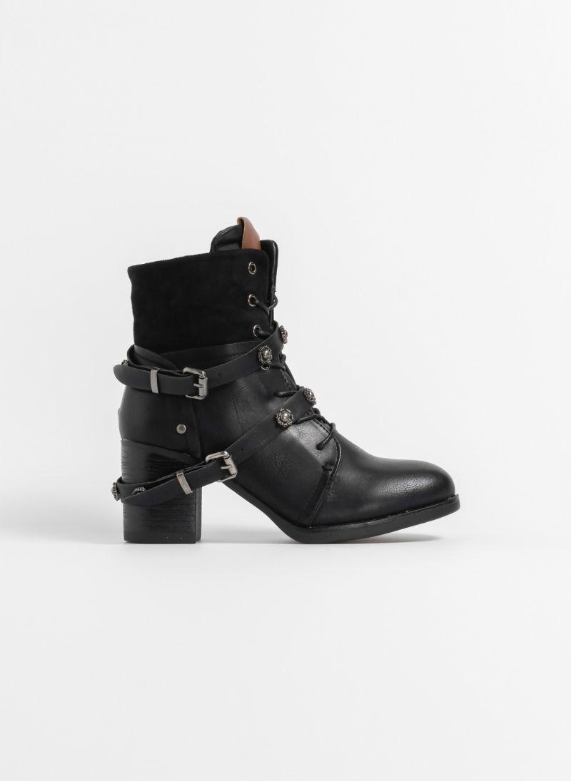 bd763186a82 Αρβυλάκια με τακούνι και suede λεπτομέρεια - Μαύρο - TheFashionProject