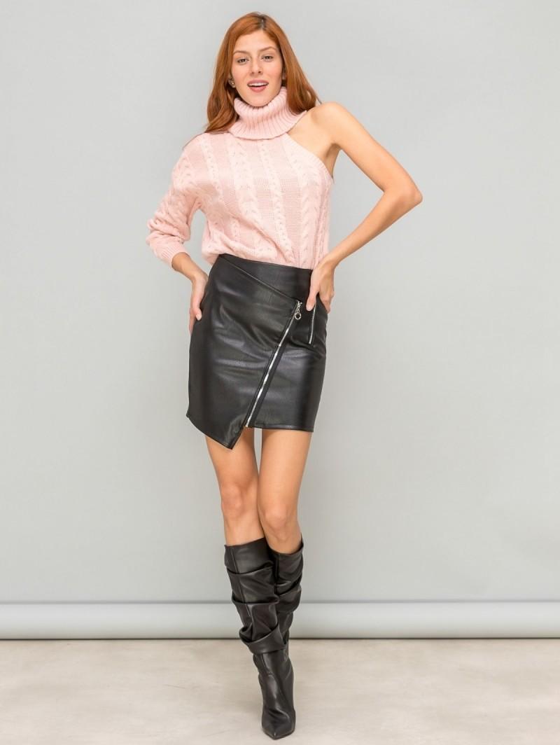 Ασύμμετρη φούστα δερματίνη με λοξό φερμουάρ - Μαύρο - TheFashionProject 689813061cc