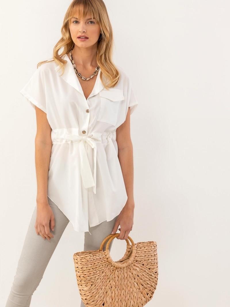 f5964472fefb Ασύμμετρη πουκάμισα με ζωνάκι - Λευκό - TheFashionProject