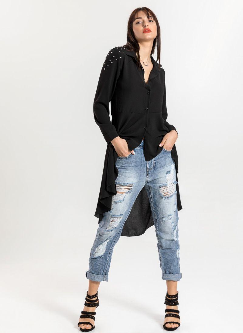 Ασύμμετρο μεσάτο πουκάμισο με πέρλες στον ώμο - Μαύρο ... 05a625b63b9