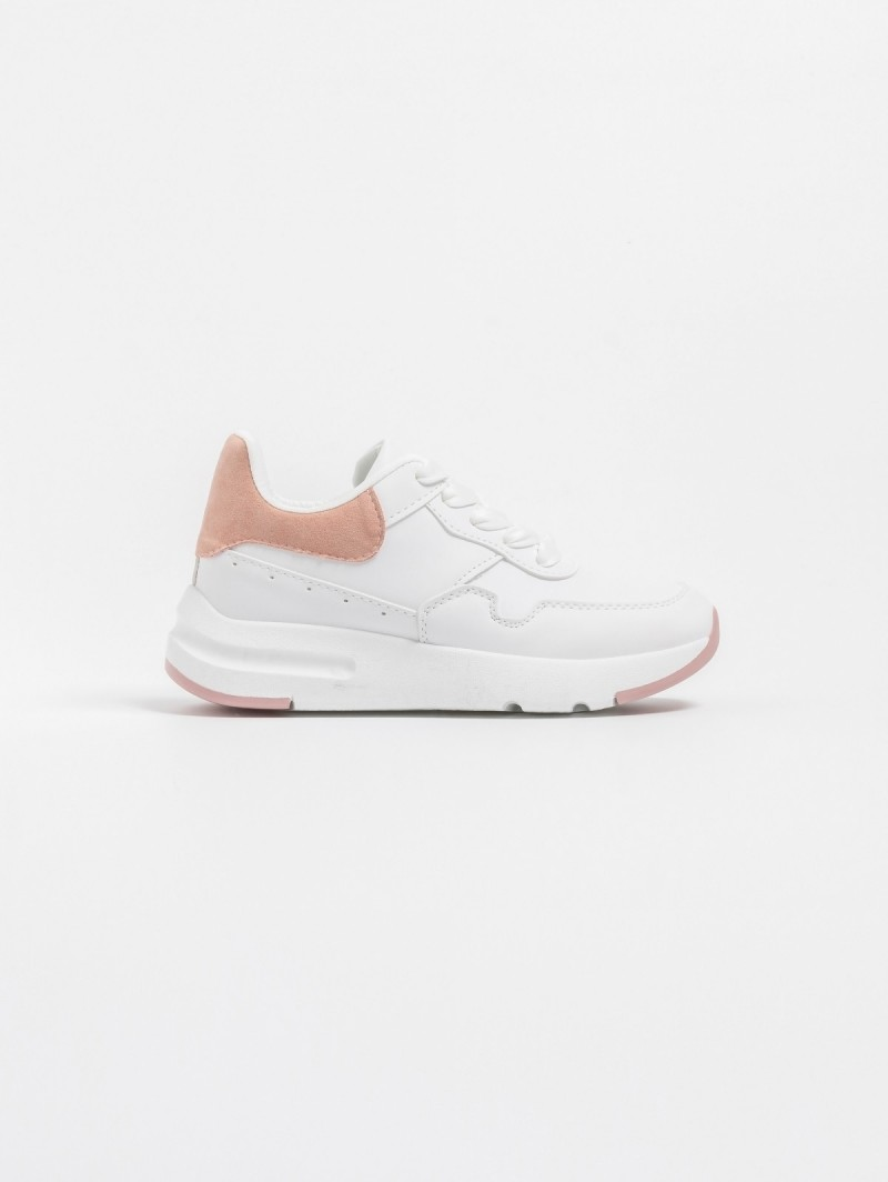 Αθλητικά με διπλή σόλα και suede λεπτομέρεια - Λευκό Ροζ ... 640b165ad57