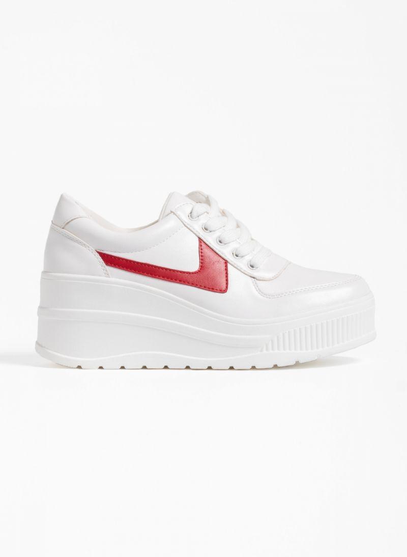 7bf627dc762 Αθλητικά παπούτσια με πλατφόρμα και συνδυασμό υφών - Λευκό/Κόκκινο ...