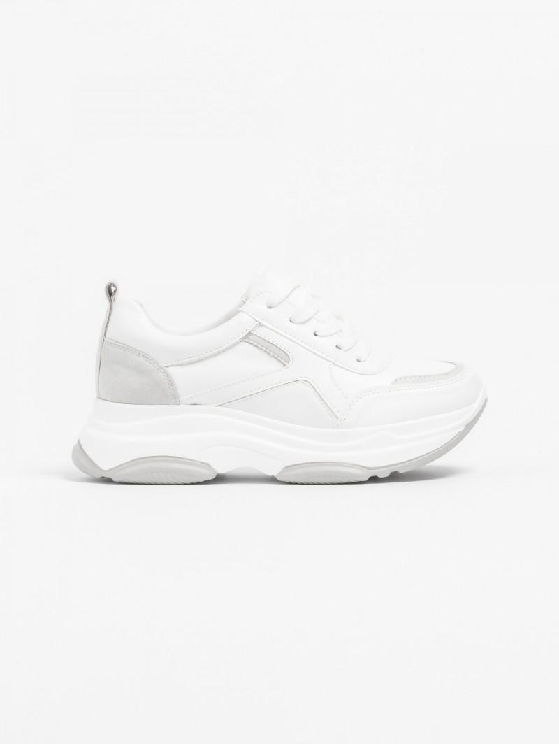 Αθλητικά παπούτσια πλατφόρμα με συνδυασμό υλικών - Λευκό ... 386ccafdbf5