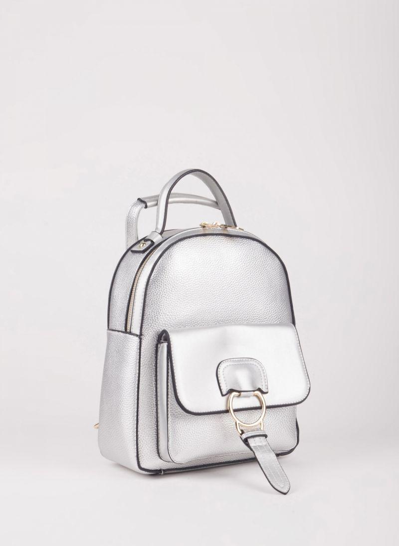 Backpack με εξωτερική θήκη - Ασημί - TheFashionProject d9512438ae4