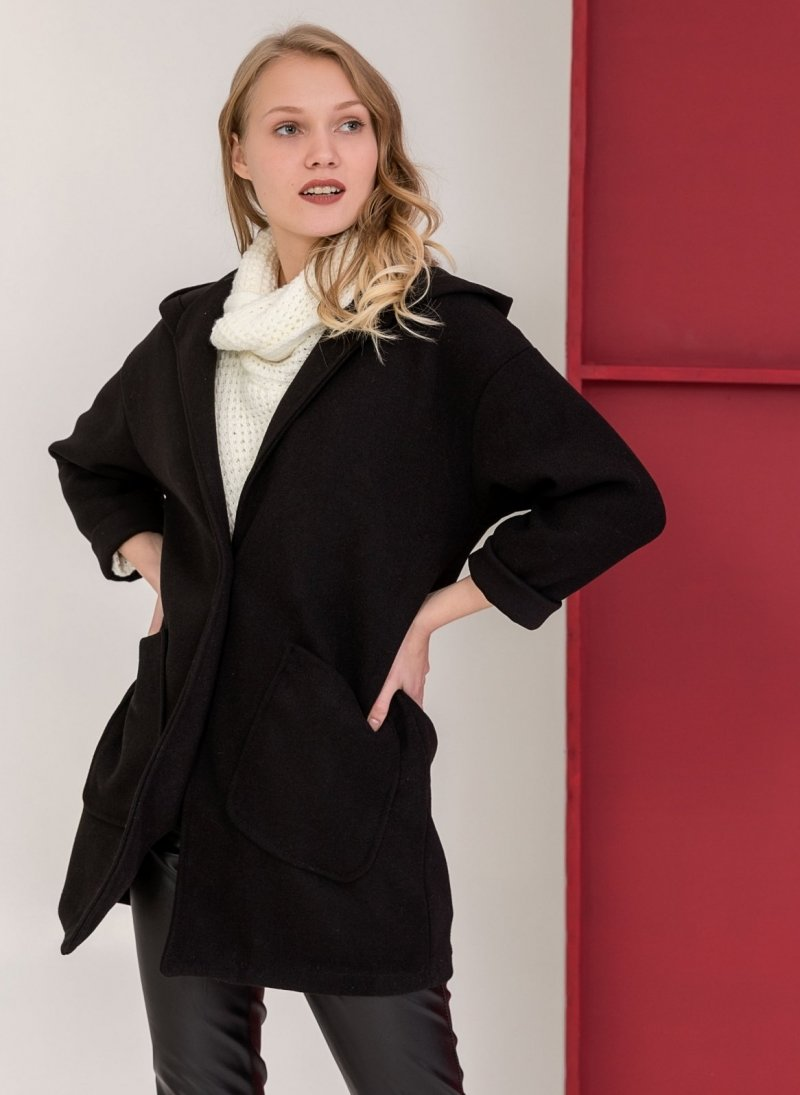 Casual παλτό με κουκούλα και εξωτερικές τσέπες - Μαύρο ... 13daeda5c94
